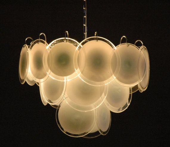 White Vistosi Glass Disc Chandelier 24 Discs Door Iconiclights 865 00 Murano Glassvintage Italianchandeliersclassic Italianchandelier Lightingchandelier