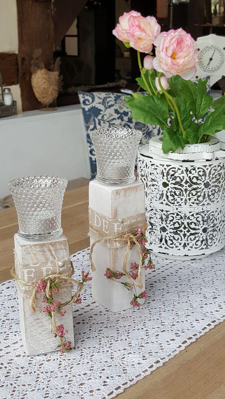 Schön Kerzenhalter Mit Windlicht Aus Riffelglas Weiß Mit Deko Maße: Ca. 13/ 17cm X