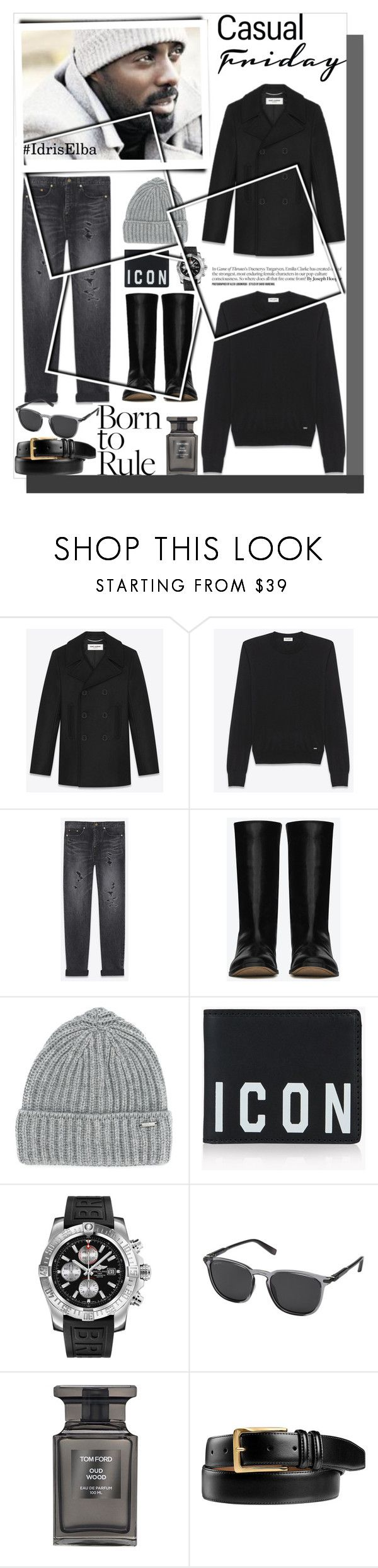 """Leather Boots! ! Created by alves-nogueira."" by nefertiti1373 on Polyvore featuring Woolrich, Dsquared2, Breitling, Salvatore Ferragamo, Tom Ford, Johnston & Murphy, men's fashion, menswear, famousfaces and MenWhoLookGood"