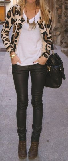This chic but totally simple outfit. Leopard cardigan, vneck tee, leather-like leggings, statement necklace.