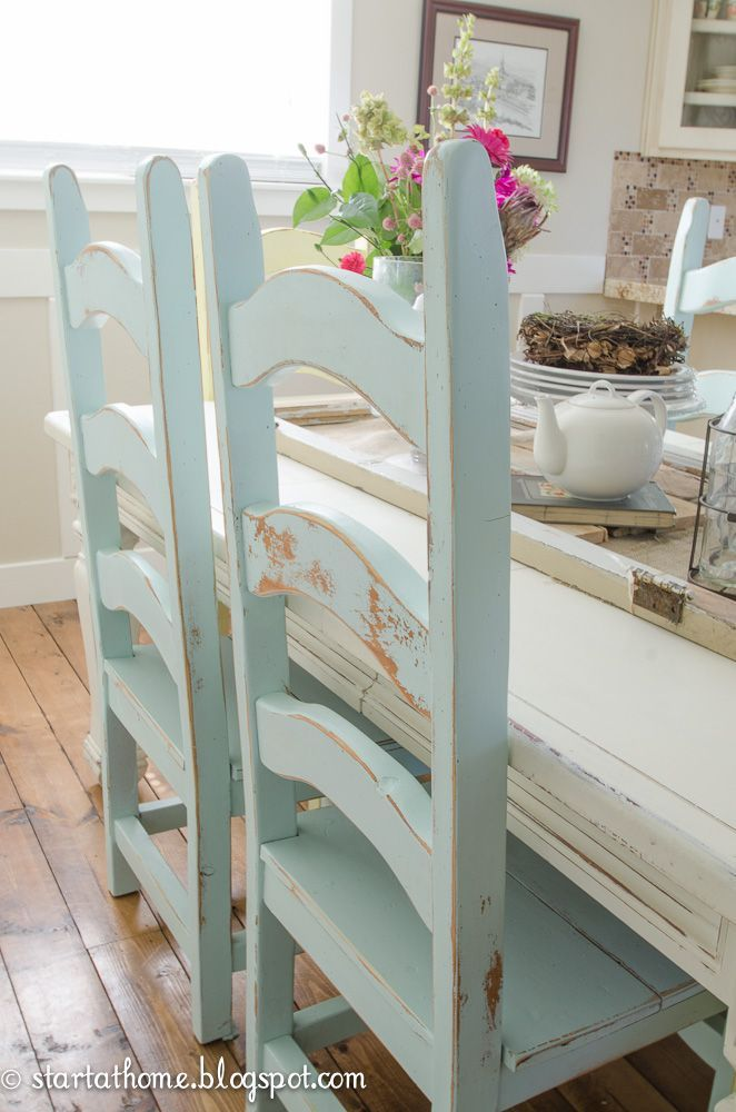 DIY:  How To Distress Painted Furniture + post lists the paint used to get this look - Start at Home