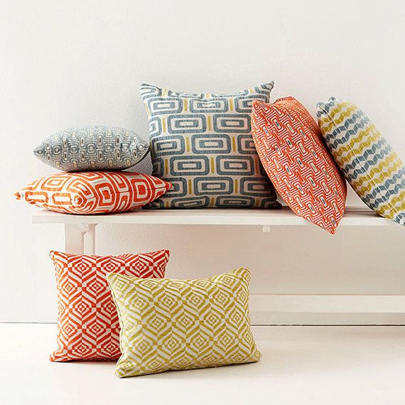 Jacquard Geometric Zig Zag Tribal Cushions by Hupper.