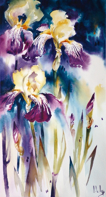 Maryse de May WATERCOLOR...all irises remind me of my Dad