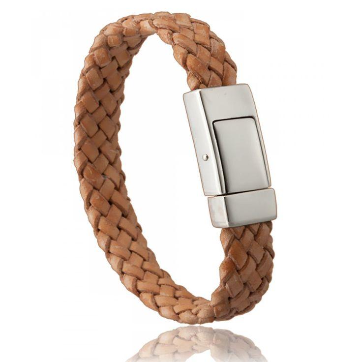 Bracelet homme cuir beige monarque - Di-Angelo