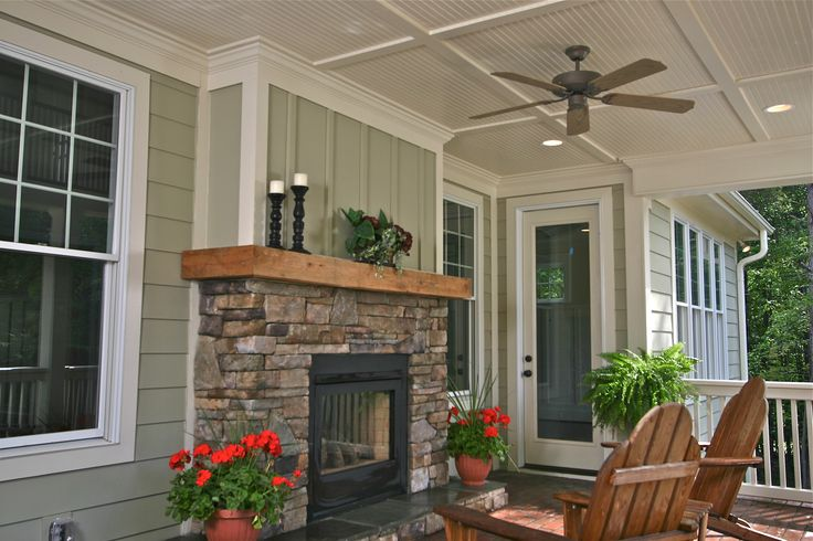 Covered Porch with Fireplace | ... living again » See thru fireplace on rear covered porch in The Farms