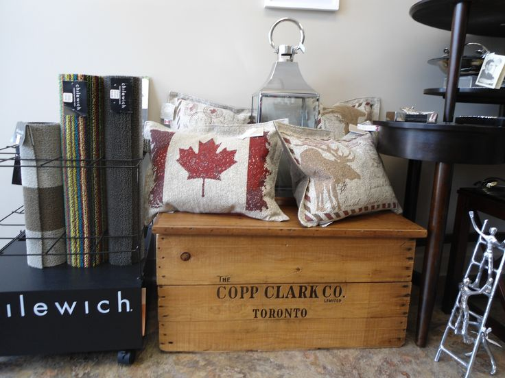 A patriotic pillow at Culinary Poet in Goderich.