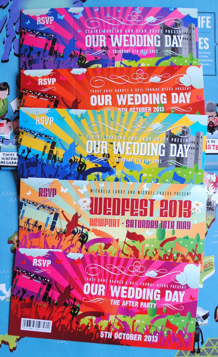 Wedding invitations with 'wedfest' festival theme, with vip lanyards and seating plans available too. By the very talented Marty McColgan - visit the site for lots of inspiration http://www.martymccolgan.com/blog/tag/wedding-invitations/ #wedding #wedding stationery #design