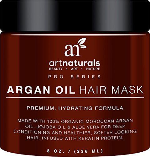 Art Naturals Masque d'Huile d'Argan, Après-Shampoing Riche 230 ml, 100% Huile de Jojoba & Kératine, Répare les Cheveux Secs, Abîmés ou…