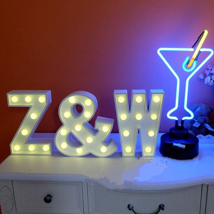 1 pcs surat kayu led dinding lampu arquee sign ejaan alfabet menyala malam cahaya perlengkapan pesta pernikahan decortion rumah decor