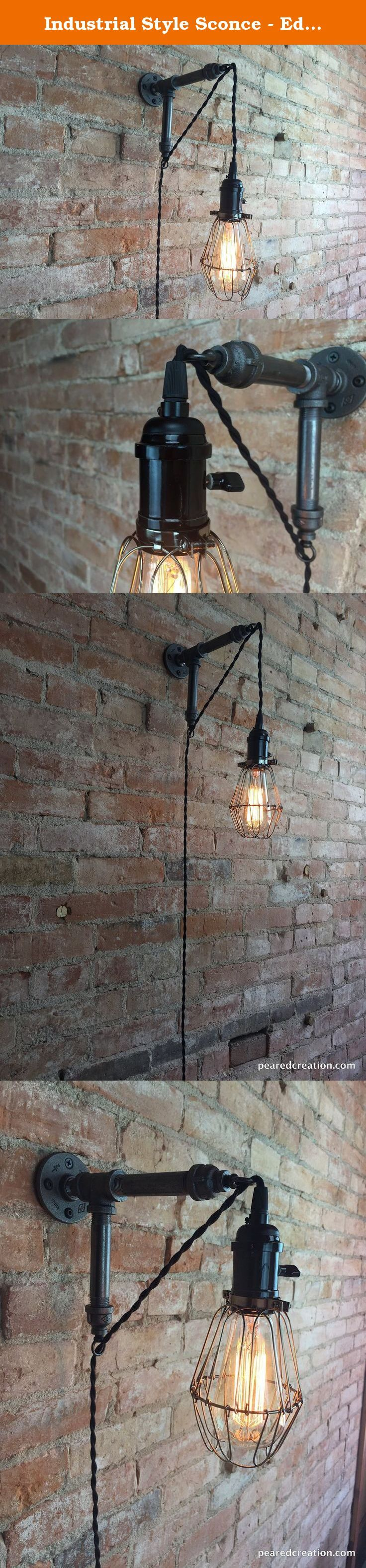 Industrial Style Sconce - Edison Bulb Lamp - Pendant Lights. We brought simplicity and ease of installation to this industrial style wall sconce! This clever design lets you skip the direct wiring and place it virtually anywhere on your wall. The 12 foot cloth covered cord gives plenty of reach and actually becomes part of the design as it exits the sconce. A top of the line antique bronze socket dims a 40 watt squirrel cage edison (bulb included in your purchase). The pendant hangs from…
