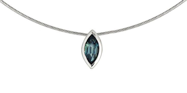 Sapphire pendant in white gold  www.ivyandi.com.au