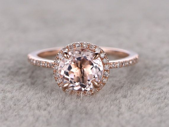 7mm Morganite bague de fiançailles en or Rose, diamant Alliance, 14k, rond coupe, Pierre anneau de promesse nuptiale, dents de la griffe, Pave ensemble, fait à la main