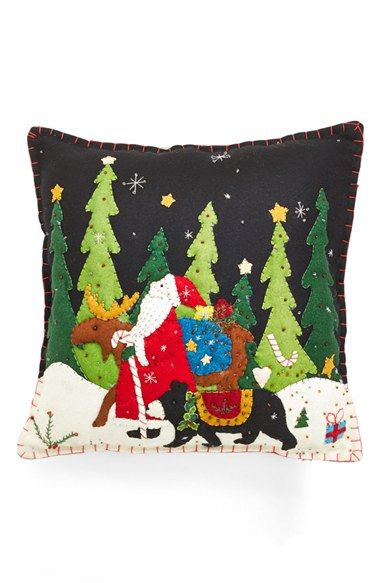 New World Arts 'Santa Walking with Moose & Bear' Accent Pillow | Nordstrom