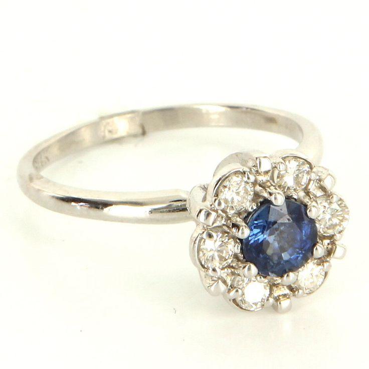 Vintage 14 Karat White Gold Sapphire Diamond Cocktail Daisy Ring Fine Jewelry 7 #Unbranded #DaisyCocktailRing