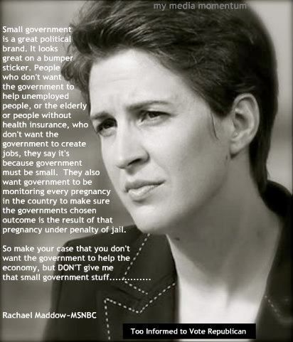 Why Rachel Maddow Thinks 'Small Government' Makes A Great Bumper Sticker (http://front.moveon.org/)