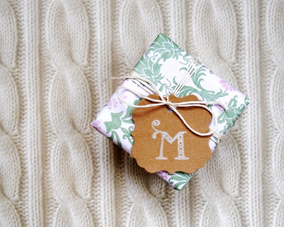 monogram gift tags  monogrammed favor  wedding by magdalenarose, $3.00
