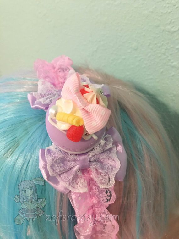 Purple Macaroon And Whipped Cream Lace Bow Sweet Lolita by zefora