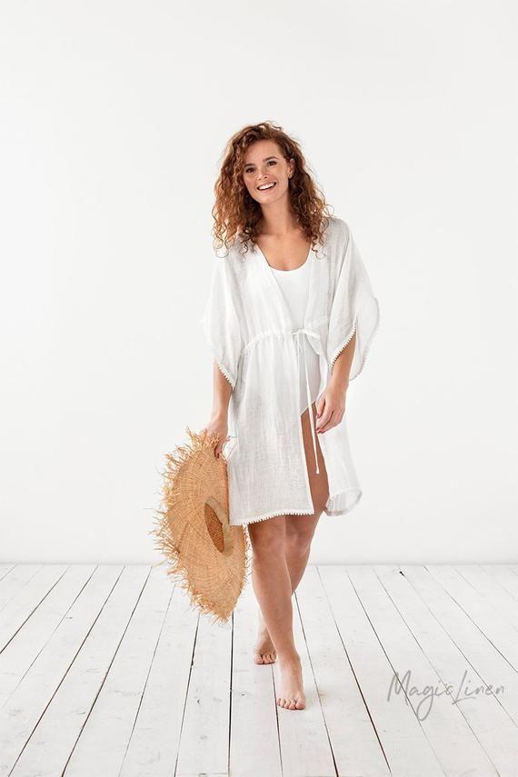 Linen beach cover up PALMA. Linen poncho. Linen cover up kimono. White linen kaftan for beach. 9