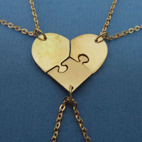 Rose Gold Heart Love Puzzle Necklace 3 Pieces Jigsaw By