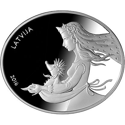 Latvian silver coin Fairy tale coin II. Hedgehogs coat. Face value: 5 euro Weight: 28.28 g Shape: oval; length: 42.00 mm; width: 35.00 mm Metal: silver of fineness .925 Quality: proof Maximum mintage: 10 000 Struck in 2016 by UAB Lietuvos monetu kalykla (Lithuania) #silver #coins #silvercoins #Latvia #Latvia coins #euro #euro coins