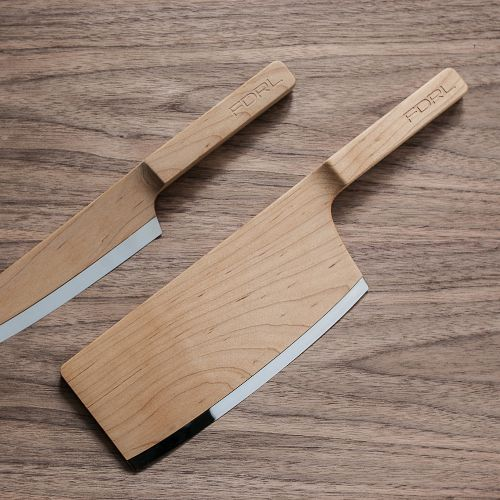 The Federal, knives made if maple with a steel cutting edge for a sharper blade.