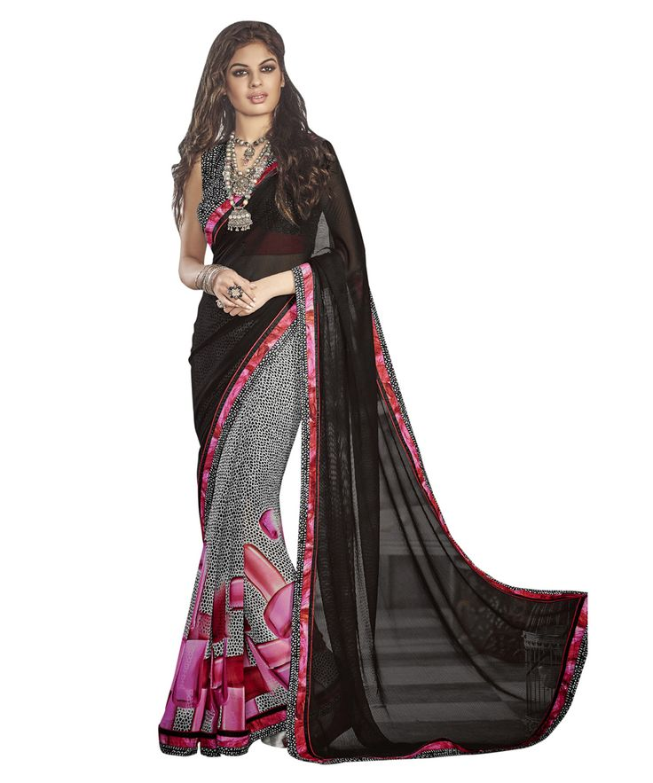 Buy Now Black Chiffon Georgette Festival Wear Printed Saree with Crepe Blouse only at Lalgulal. Price :- 1,912/- inr To Order :- http://goo.gl/9r9t1S. COD & Free Shipping Available only in India.
