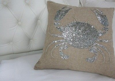 Nothing says coastal glam like a sequin crab pillow. Toss it on a white slip covered sofa for an understated look.