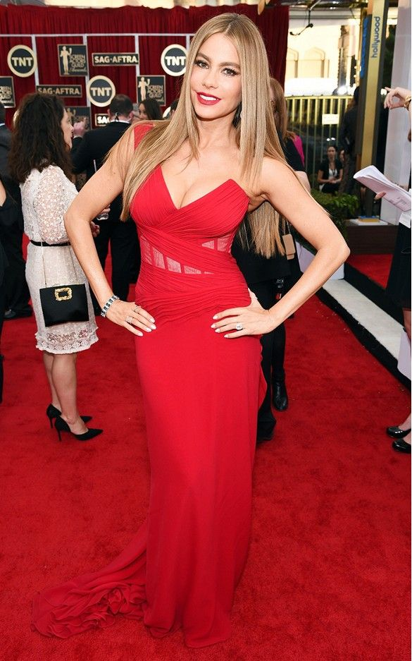 Sofia Vergara in a fiery red Donna Karan silk georgette gown at the 2015 SAG Awards