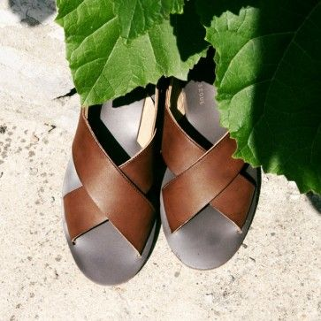 Faux leather #sandals, #brownsandals featuring an ankle strap. #koreanfashion #summershoes