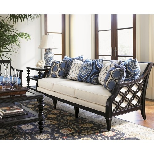 Royal Kahala Bay Club Exposed Wood Sofa With Quatrefoil Design By Tommy Bahama Home Baer S