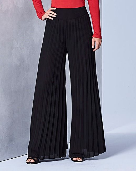 Sunray Pleat Palazzo Trousers Regular | J D Williams