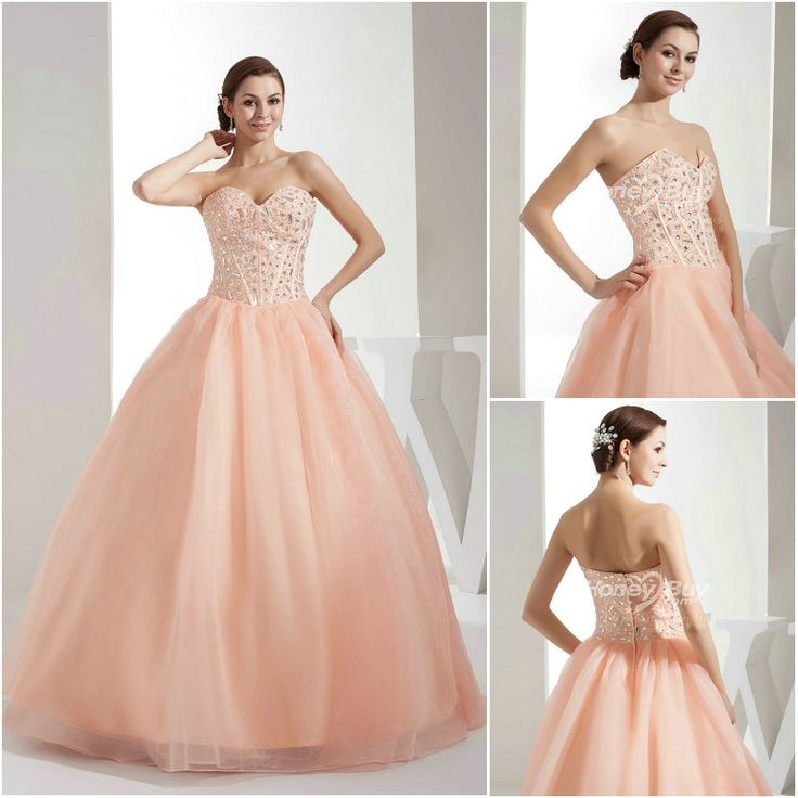 Light Salmon Colored Dresses Fashion Color Sweetheart Crystal C Quinceanera Gowns