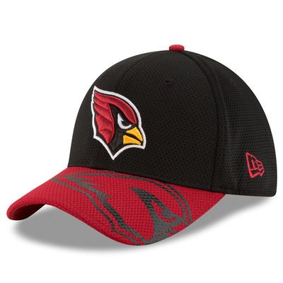 New Era Arizona Cardinals Black/Cardinal Chrome Tech 39THIRTY Flex Hat