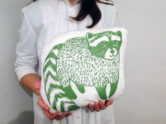 Cushions & pillows – Handmade Raccoon Pillow – a unique product by IrenaSophia on DaWanda