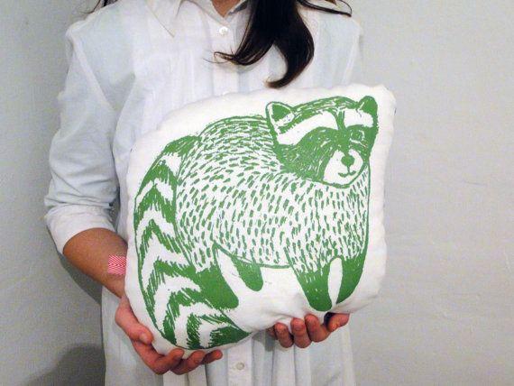 Cushions & pillows – Handmade Raccoon Pillow – a unique product by IrenaSophia on DaWanda