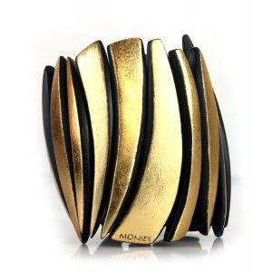 Pulsera brazalete goldfoil Monies dorado www.sanci.es