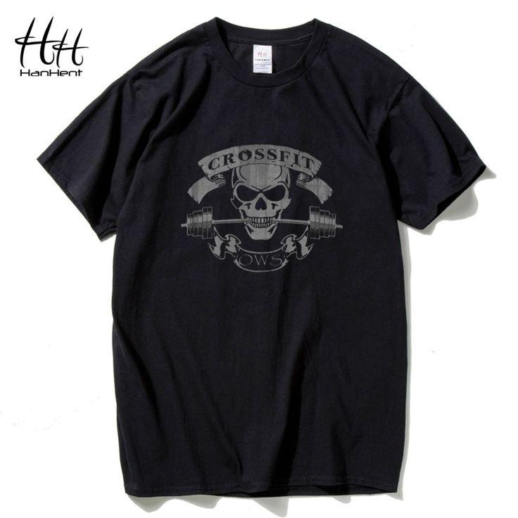 HanHent Crossfit Skull T Shirts Men Fitness T-Shirt Bodybuilding Tops Tees Swag Cotton Tee shirt Summer Round Collar Tshirts