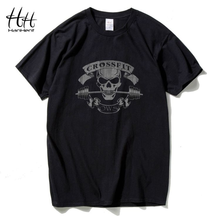 HanHent New Fashion Tees Crossfit Skull T Shirts Men Fitness T-Shirt Bodybuilding Top Tees Cotton Short Sleeve Sportswear Shirt