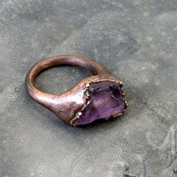 Copper Ring Amethyst Purple Violet Raw Gem Stone Crystal.