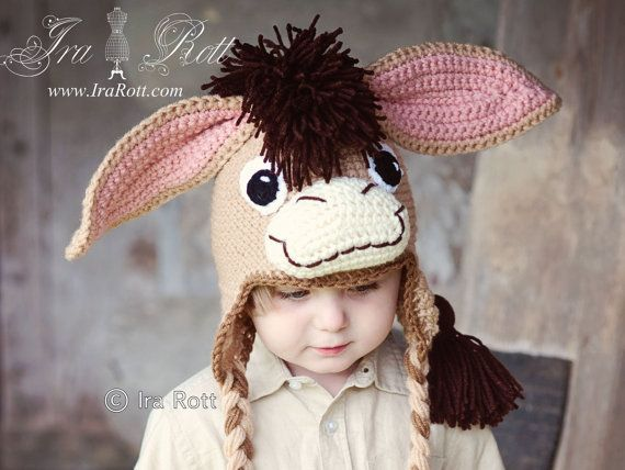 Knitting Pattern For Donkey Hat : 88 best images about Crazy Hats on Pinterest Kids hats ...