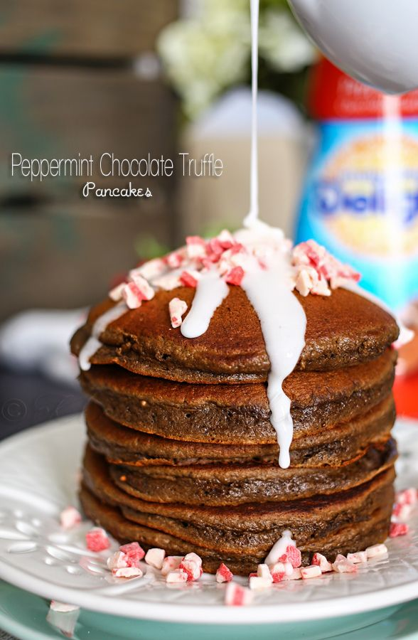 Peppermint Chocolate Truffle Pancakes on kleinworthco.com #IDelight  @indelight