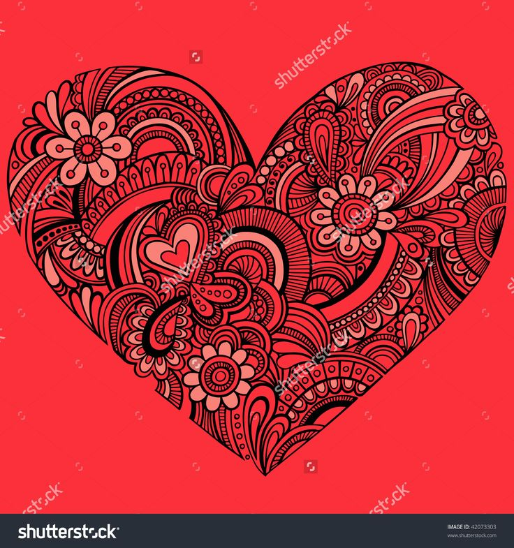 Hand-Drawn Intricate Henna Tattoo Paisley Heart Doodle Vector ...