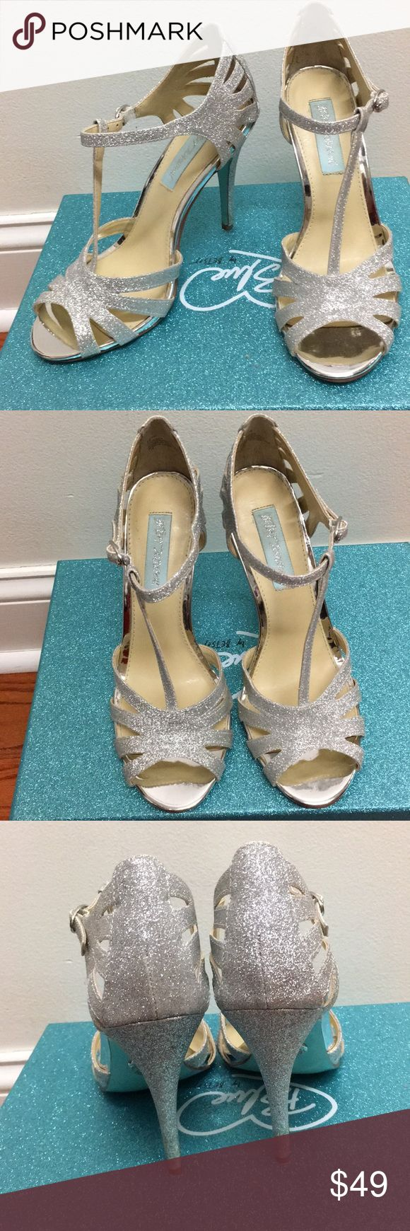 Betsey Johnson Silver Glitter Heels Betsey Johnson silver heels. Worn only once to a prom. Heel measures 4 inches. Have box and they are in excellent condition with minimal wear on the bottom and heel- please see attached pictures.  Size 6.5 Betsey Johnson Shoes Heels #GlitterHeels
