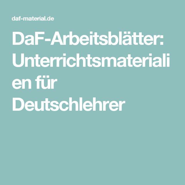 DaF-Arbeitsblätter: Unterrichtsmaterialien für Deutschlehrer