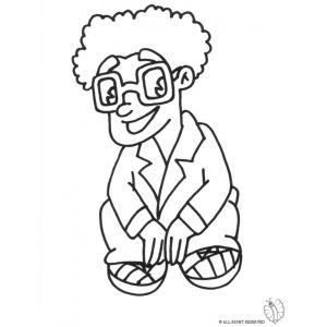 Disegno di Bambino con Occhiali da colorare