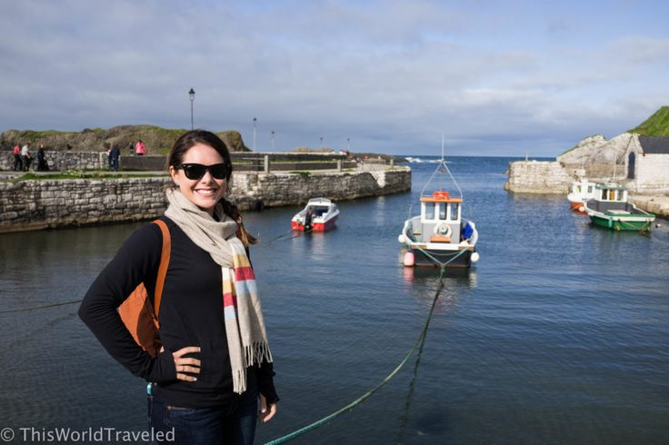Posing by the small harbour at Ballintoy in Northern Ireland