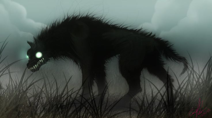 Black Shuck - An english black dog who roams the coastlines of Norfolk, Suffolk and Essex