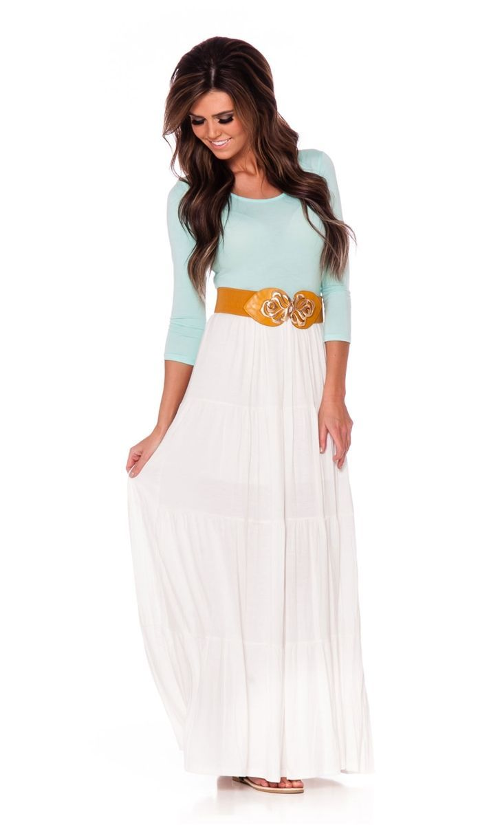 nice Light Mint White Maxi Dress | Affordable Modest Boutique Clothes for Women | Trendy Modest Church Dresses