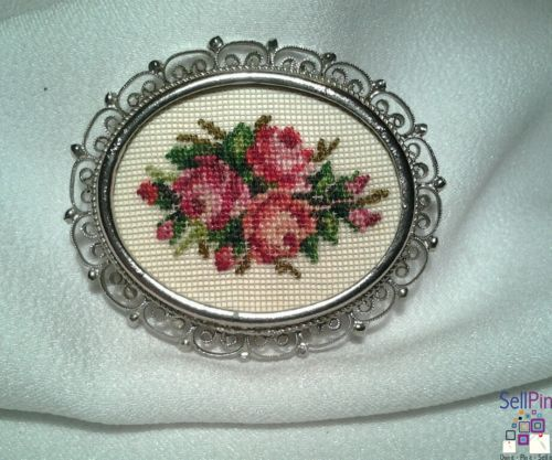 $14.50: Vintage Silver Scalloped White Pink Red Rose Tapestry Needlepoint Brooch Pin