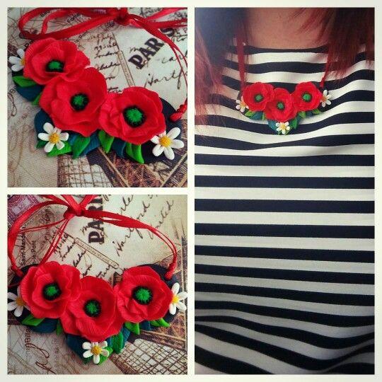 Fimo Poppy necklace